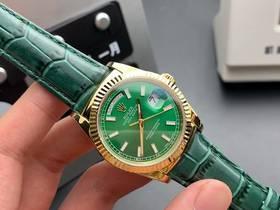 BP厂劳力士36mm日志金色绿皮男表实拍视频