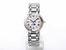 GS厂浪琴心月石英月相女士手表对比正品评测