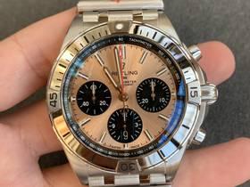 GF厂百年灵机械计时腕表,硬核复古子弹链表带!
